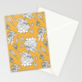 Floral line artwork illustration white on yellow pattern design Stationery Cards