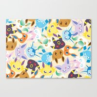 eevee Canvas Prints featuring Eevee Evolutions by RAVEFIRELL