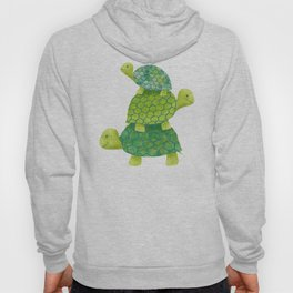Turtle Stack Family in Teal and Lime Green Hoody