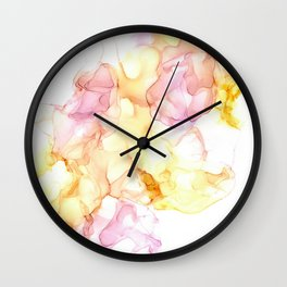 Wispy Pink and Yellow: Original Alcohol Ink Painting Wall Clock