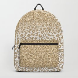 Trendy Gold Glitter and Leopard Print Gradient Design Backpack