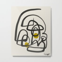 Thick line abstract portrait Metal Print