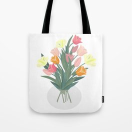 Bouquet of tulips in glass vase Tote Bag