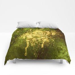 golden rose on green Comforters