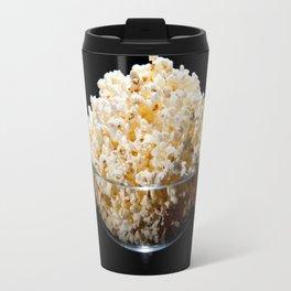 crunchy popcorn in glass bowl Travel Mug
