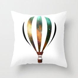Space Hot air baloon Throw Pillow