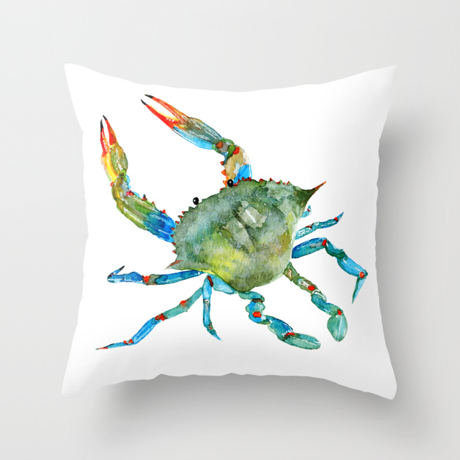 Watercolor Atlantic Blue Crab Throw Pillow By Artumeprints Society6
