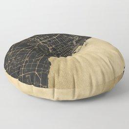 Toronto Gold and Black Street Map Floor Pillow