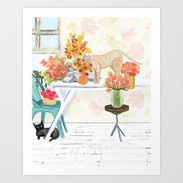The Florist's Cats Art Print