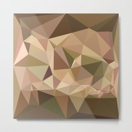 Burlywood Abstract Low Polygon Background Metal Print