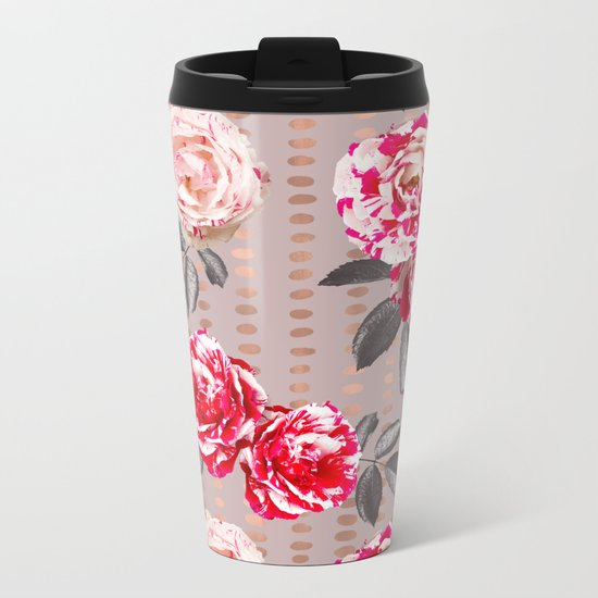 Rose Garden Polka Dots Metal Travel Mug