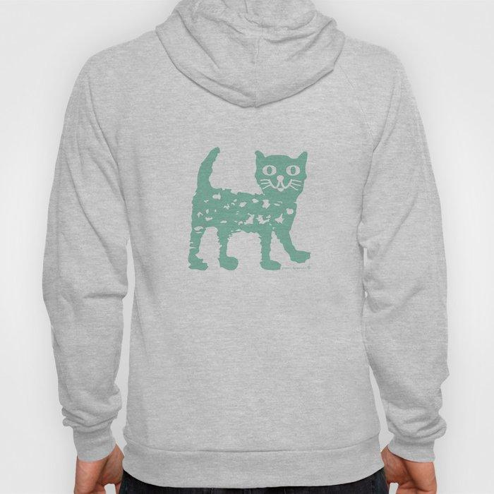 Mint cat drawing, cat drawing Hoody