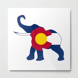 Colorado Republican Elephant Flag Metal Print