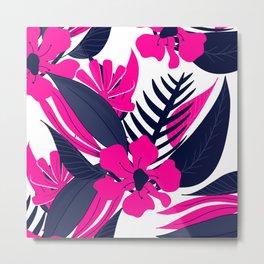 Modern tropical neon pink navy blue floral composition pattern illustration Metal Print