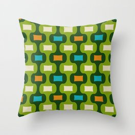 Colorful Mid Century Modern Ogee Pattern 350 Throw Pillow