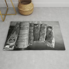 Antique leather-bound books, novels, poetry black and white photograph / vintage black and white photography Rug