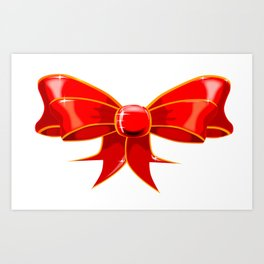 Isolated Red Ribbon Art Print