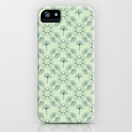 Daisy Flowers and Tiny Birds Seamless Pattern iPhone Case