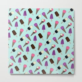 Cute Summer Frozen Treats Ice Illustration Pattern Metal Print