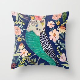 Parakeet with Floral Crown Throw Pillow
