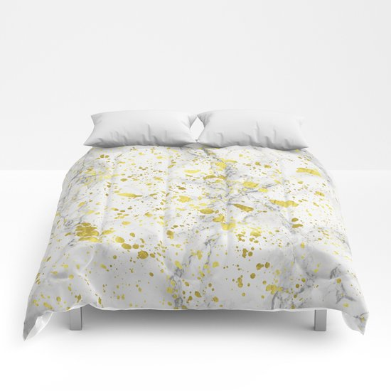 Marble and Golden Stains Comforters