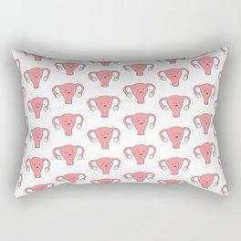 Patterned Happy Uterus in White Rectangular Pillow