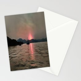 Sunset Shores In Pink And Grey Stationery Cards