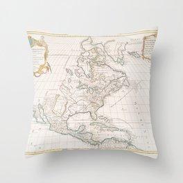 Amerique septentrionale  -  divisee en ses principales parties, ou sont distingues les vns des autres les etats suivant qu'ils appartiennent presentem Throw Pillow