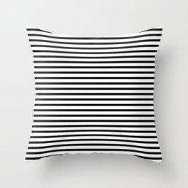 Stripped horizontal black and white pattern Throw Pillow