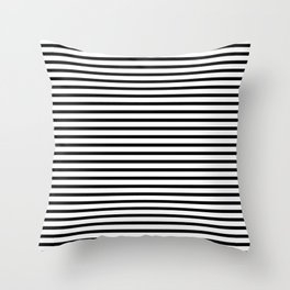 Stripped horizontal black and white pattern Throw Pillow