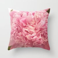 peony Throw Pillows featuring Peony by cescabear