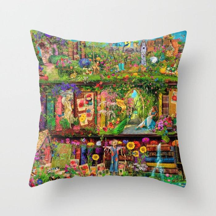 The Secret Garden Book Shelf Throw Pillow