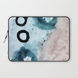 Space: a minimal watecolor piece in blue, pink, and black Laptop Sleeve