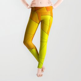 Bright summer pattern of yellow and green triangles and irregularly shaped lines. Leggings