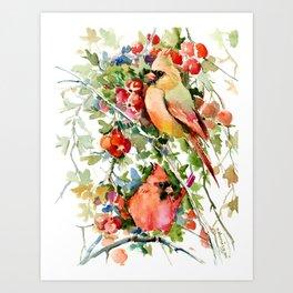 Cardinal Birds and Hawthorn, Cardinal Bird Christmas Design art floral bird decor Art Print