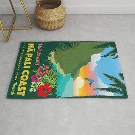 Na Pali Coast Travel Poster Rug