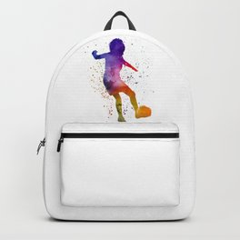 Woman soccer player 15 in watercolor Backpack