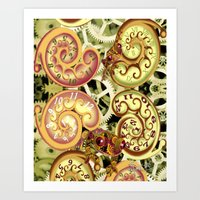 clockwork Art Prints featuring Clockwork. by Sylvie Heasman