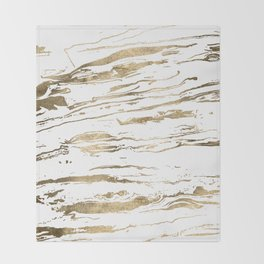 Gold abstract marbleized paint Throw Blanket