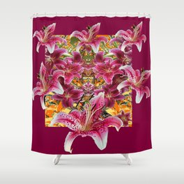 BURGUNDY STAR GAZER LILY FLOWER  ART Shower Curtain