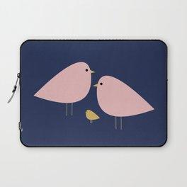 Bird Family in Pink, Navy Blue, and Mustard -  Minimalist Scandinavian Mid-Century Modern Design Laptop Sleeve