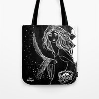 jane davenport Tote Bags featuring Nesting Instinct by Jane Davenport by Jane Davenport