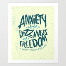 Kierkegaard on Anxiety Art Print