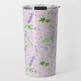 Misty Blue Flowers Pink Travel Mug
