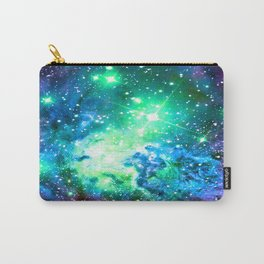Fox Fur Nebula BRIGHT : Green Blue Purple Galaxy Carry-All Pouch