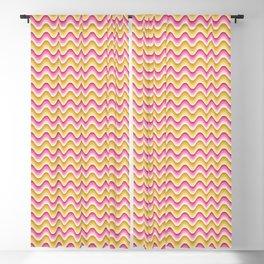 Bargello waves golden yellow pink Blackout Curtain