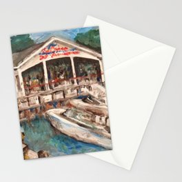 """Marina at Western Bay"" Kelley's Island, Ohio Painting by Willowcatdesigns Stationery Cards"