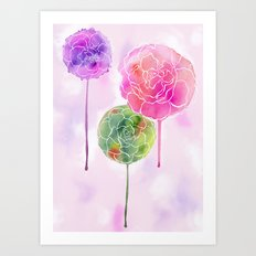 Succulent and Roses Art Print