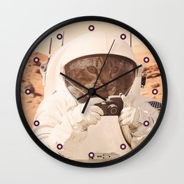Astronaut Cat on Mars Wall Clock