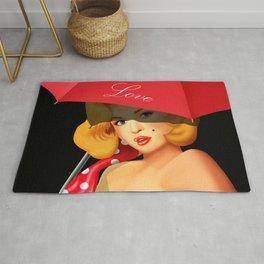 Pin-up Girl under red umbrella Rug